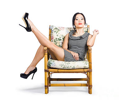 Fashion Model Photograph - Young Vintage Fashion Model Sitting On Chair by Jorgo Photography - Wall Art Gallery