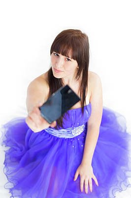 Young Woman Using Smartphone Art Print by Wladimir Bulgar
