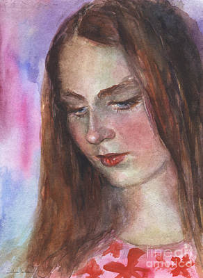Looking Down Painting - Young Woman Watercolor Portrait Painting by Svetlana Novikova