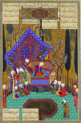 Folio Painting - Zal Consults The Magi Folio From The Shahnama by Celestial Images