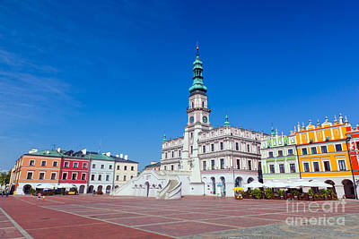 Colorful Photograph - Zamosc Poland Historic Buildings With The Town Hall by Michal Bednarek