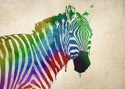 Splatter Digital Art - Zebra by Aged Pixel