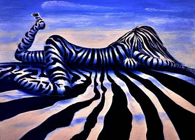 Zebra In Painting - Zebrianna by Ruben Barbosa
