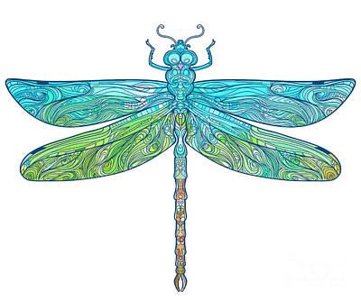 Zentangle Stylized Dragonfly. Ethnic Art Print