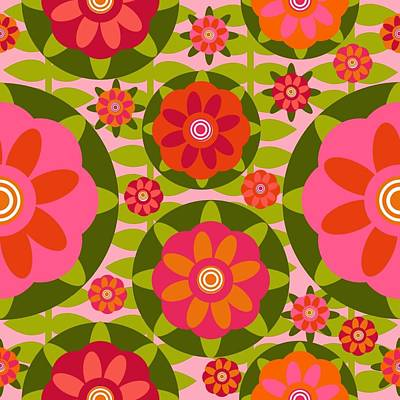 Zinnia Garden Art Print by Lisa Noneman