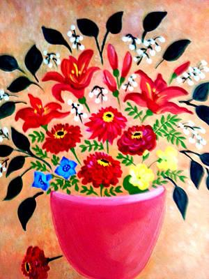 Painting - Zinnias And Lilies by Nikki Dalton