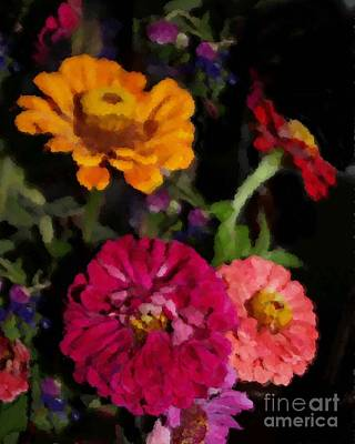 Digital Art - Zinnias In July by Denise Dempsey Kane