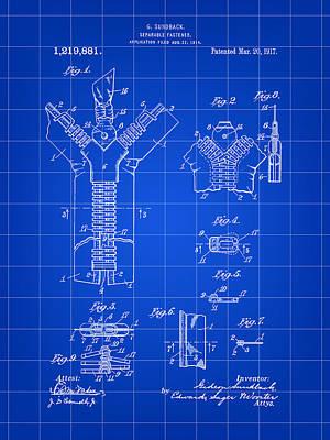 Zipper Patent 1914 - Blue Art Print by Stephen Younts