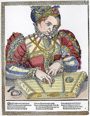 Zither Player, 16th Century Art Print