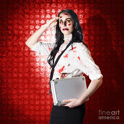 Zombie Business Woman In Red Alert Emergency Art Print