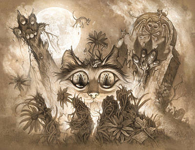Graveyard Digital Art - Zombie Cats by Jeff Haynie