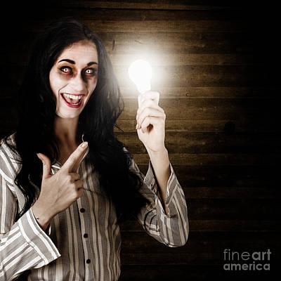 Zombie Girl Holding Lightbulb With Bad Idea Art Print by Jorgo Photography - Wall Art Gallery