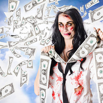Zombie Person With Falling 1 Dollar Us Bank Notes Art Print
