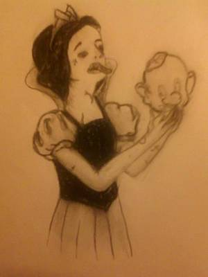 Drawing - Zombie Snow White by Lee Farley