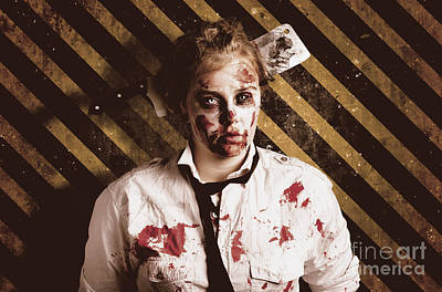 Photograph - Zombie Standing On Outbreak Warning Background by Jorgo Photography - Wall Art Gallery