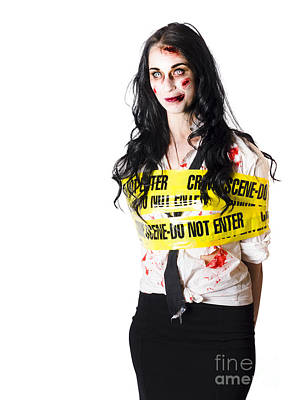 Zombie Woman Taped Up Art Print by Jorgo Photography - Wall Art Gallery