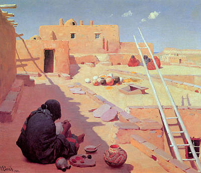 Zuni Pottery Maker Art Print
