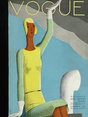 A Vintage Vogue Magazine Cover Of A Woman Art Print