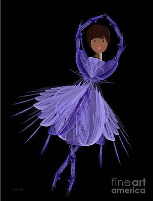 10 Blue Ballerina Art Print by Andee Design