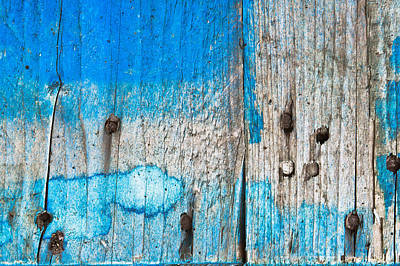 Wood Grain Photograph - Blue Wood by Tom Gowanlock