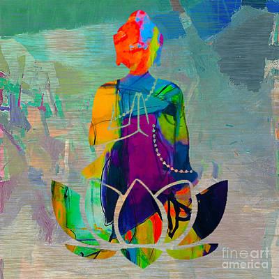 Buddah On A Lotus Art Print