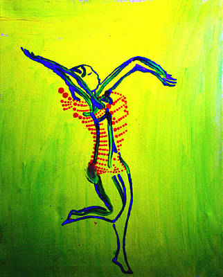 African Traditional Dances Painting - Dinka Dance - South Sudan by Gloria Ssali