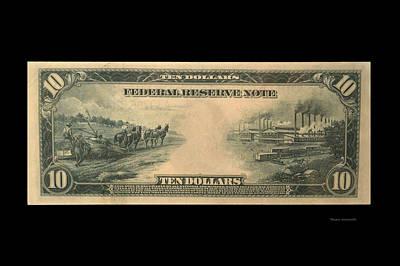 10 Dollar Us Currency 1914 Bill Backside Art Print by Thomas Woolworth