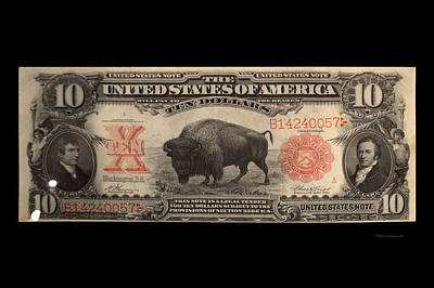 10 Dollar Us Currency Lewis And Clark Buffalo Bill Art Print by Thomas Woolworth