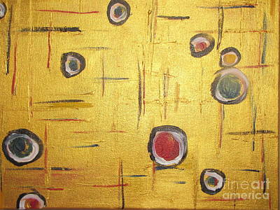 Amma Painting - 10 Golden Circles by Marten Kayle