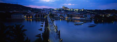 Vltava Photograph - High Angle View Of Buildings Lit by Panoramic Images