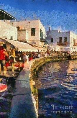 People Painting - Little Venice In Mykonos Island by George Atsametakis