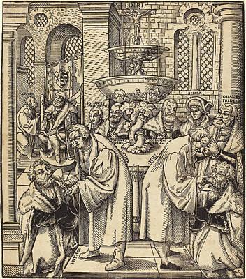 Communion Drawing - Lucas Cranach The Elder German, 1472 - 1553 by Quint Lox