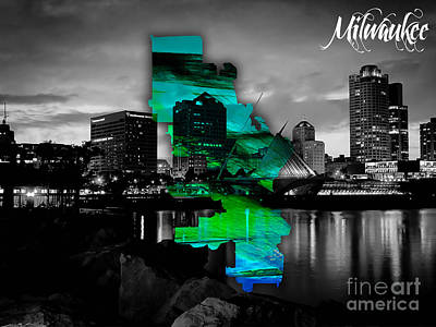 Milwaukee Map And Skyline Watercolor Art Print by Marvin Blaine