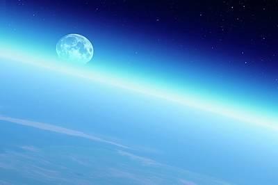 Moonrise Over Earth Art Print by Detlev Van Ravenswaay
