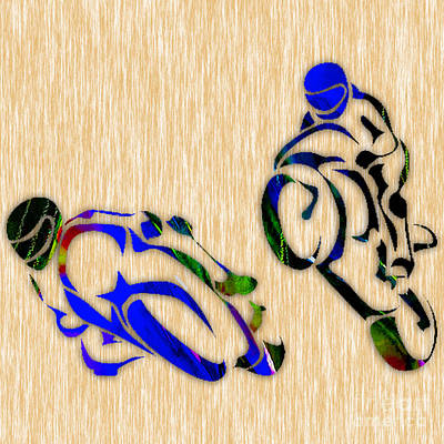 Bike Mixed Media - Motorcycle Racing by Marvin Blaine