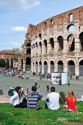 Teenager Photograph - Outside Colosseum In Rome by George Atsametakis