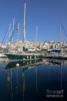 Sea Photograph - Reflections In Mikrolimano Port by George Atsametakis