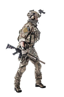 Photograph - Studio Shot Of An Army Ranger In Field by Oleg Zabielin
