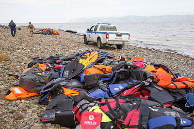 Police Car Photograph - Syrian Refugees by Ashley Cooper