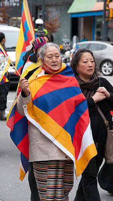 Abstract Graphics - Tibetan Protest March by Carol Ailles