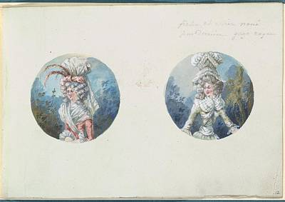 Two Costume Designs Or Portrait Types Art Print by Anonymous, French, 18th century