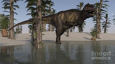 Digital Art - Tyrannosaurus Rex Hunting For Its Next by Kostyantyn Ivanyshen