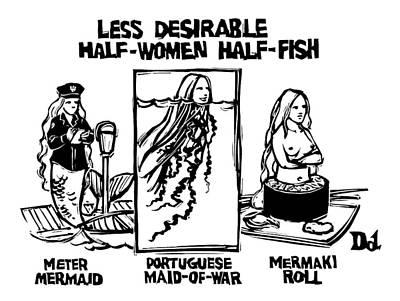 Mermaid Drawing - New Yorker February 19th, 2007 by Drew Dernavich