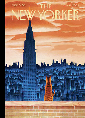 Cat Sunset Painting - New Yorker January 12th, 2009 by Mark Ulriksen