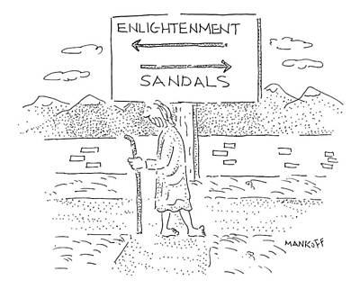 Enlightenment Drawing - New Yorker December 15th, 2008 by Robert Mankoff