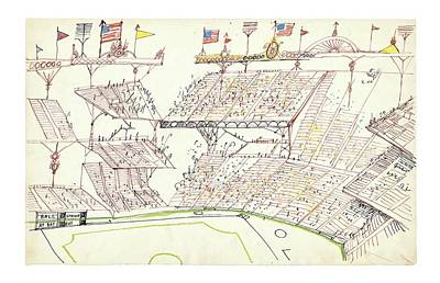 Stadium Drawing - Untitled by Saul Steinberg