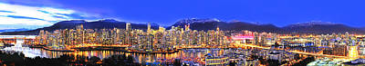 Vancouver At Night Photograph - Vancouver Skyline Panorama by Wesley Allen Shaw