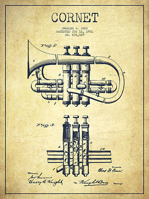 Trumpet Digital Art - Cornet Patent Drawing From 1901 - Vintage by Aged Pixel