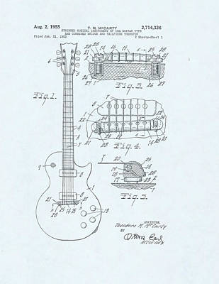 Acoustic Guitar Drawing - Guitar Patent Drawing On Blue Background by Steve Kearns