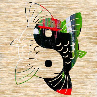 Bamboo Mixed Media - Yin Yang Koi by Marvin Blaine